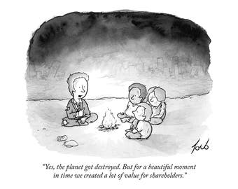 """Signed print of my New Yorker cartoon """"Yes The Planet Got Destroyed"""""""