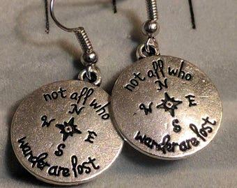 Lord of the Rings Earrings - LOTR Earrings - Not All Those Who Wander Are Lost Earrings - LOTR Jewelry