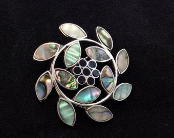Alpaca Marquise Shaped Abalone Inlay Pinwheel Flower Brooch, Ladies Abalone Brooch