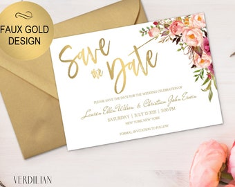 Save The Date Template - Floral Faux Gold Design Wedding Template-Printable DIY PDF editable template -Download instant|VRD156DG