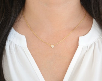 Tiny Sterling Silver Triangle Necklace. Pave triangle necklace. Layering necklace. Gold triangle layering necklace. Triangle necklace.