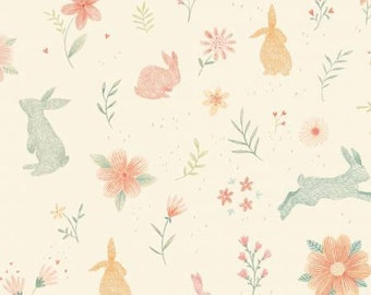 SALE!  Bunny Fabric - Fabric by the Yard - Fat Quarter Bundle - Cream Bunnies from Bunny Tales by Studio e - Modern fabric - Quilt fabric
