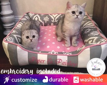 Pink and Gray Cat Bed | Classy, Girly, Princess | Grey Stripe, Pink Polka Dot | Custom Cat Bed