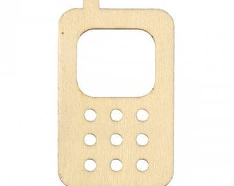 SET of 3 EMBELLISHMENT wooden figure wood MOBILE mobile cell phone