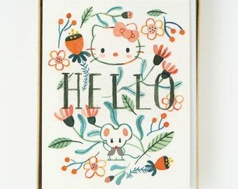 Hello Kitty Florals Card 8 pcs