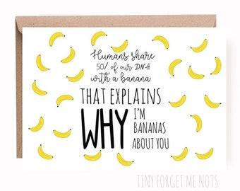 I Like You Card - I'm Bananas About You - Funny Card - I Love You - Banana - Cute I Like You Card - I love You Card - Funny I Like You Card