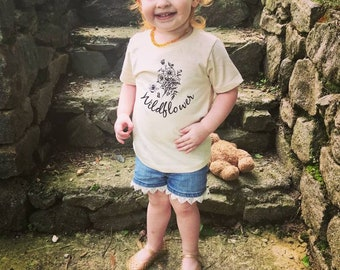 Be a Wildflower Kids ORGANIC Tee, Baby and Kids Tees, Flowers, Boho Floral, Bouquet Tee Shirt Classic Fit