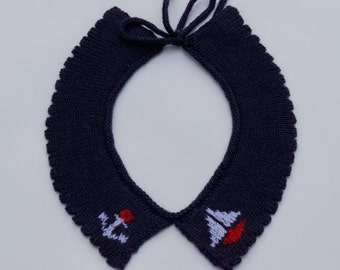 Knitted lambswool collar with nautical themed embroidery