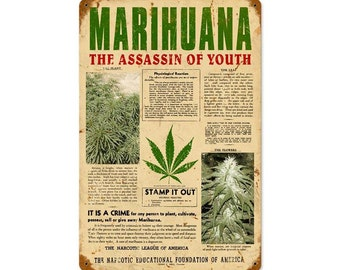 "The Assassin Of Youth Reefer Madness Marijuana Metal Sign 12"" x 18"""