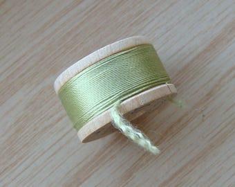 Vintage Pure Silk Buttonhole Twist Thread Spool 10 yards Size D Green Shade 9040