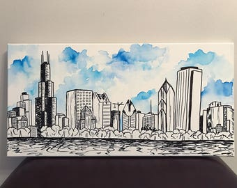 Chicago Skyline Sharpie & Watercolor Painting