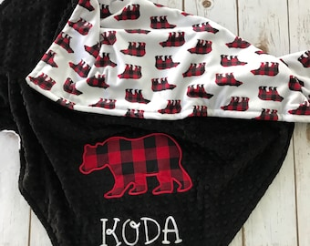 Plaid Woodland Bear Baby Blanket, Woodland Lovey, Woodland Bodysuit, Plaid Bear Blanket, Red and White Bear Blanket, Personalized Blanket