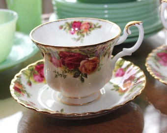 Royal Albert 'Old Country Roses' Bone china Hand Painted SMALL Cup and Saucer ~ Purchased  in London in 1962 ~
