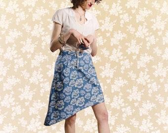 Skirt BIO-Aloma: organic cotton, blue, white, umbels