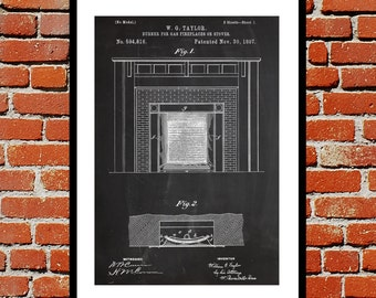 Gas Fireplace Patent, Fireplace Poster, Fireplace Blueprint,  Fireplace Print, Fireplace Art, Fireplace Decor
