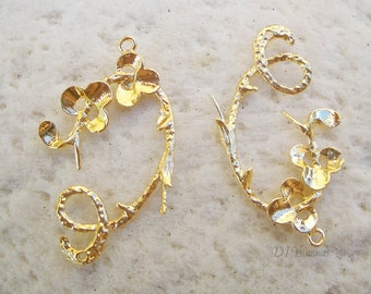 4pcs of gold flower earring chandelier 20x30mm