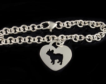 French Bulldog 'Frenchie' Linked Charm Bracelet