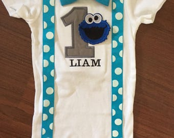 Cookie Monster inspired first birthday baby boy outfit, baby boy 1st Birthday Party