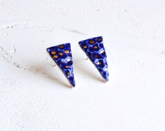 Ceramic geometric earrings,Ceramic stud earrings,stud earrings,geometric earrings,ceramic earrings,ceramic jewelry,boho stud earrings,