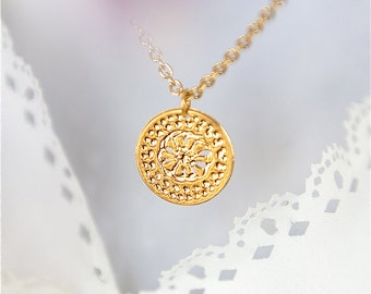 Gold necklace, Flower disc necklace, Dainty necklace, Minimalist necklace, Modern necklace, Delightful jewelry, Elegant necklace