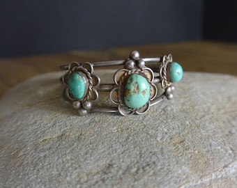 Vintage Native American Turquoise Cuff Bracelet, signed CC