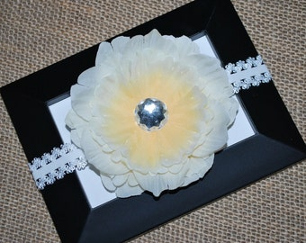 Ivory Flower Hair Clip and Lace Headband - Buy 3 Items, Get 1 FREE