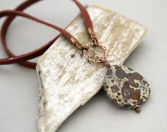 Men's Autumn Shade Jasper Pendant Leather Cord Necklace, Unisex Necklace, Masculine Jewelry, Father's Day, Gifts for Him, Antiqued Copper