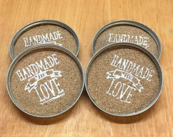 Wide Mouth Mason Jar Lid Coasters_ Set of 4