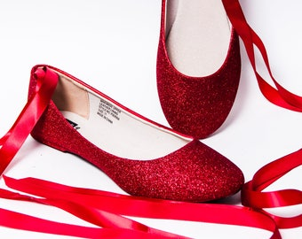 Glitter - Candy Apple Red Ballet Flat Slipper Custom Shoes with Ankle Ribbons