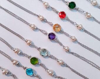 925 silver bracelet, pearls and gemstones
