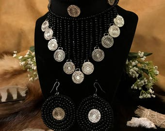 Up-cycled, Bead Embroidery Gypsy Coin Choker & Earrings set~*