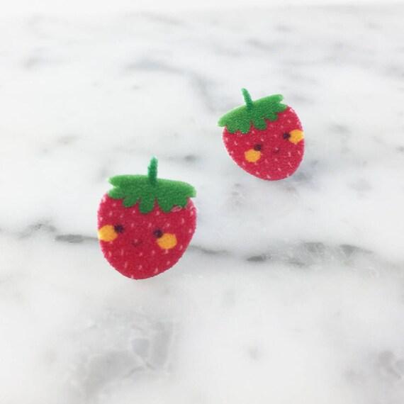 Small, earrings, shrink plastic, strawberry, red, face, stainless stud, handmade, les perles rares