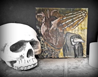 Plague Doctor and Heart - Print on Canvas