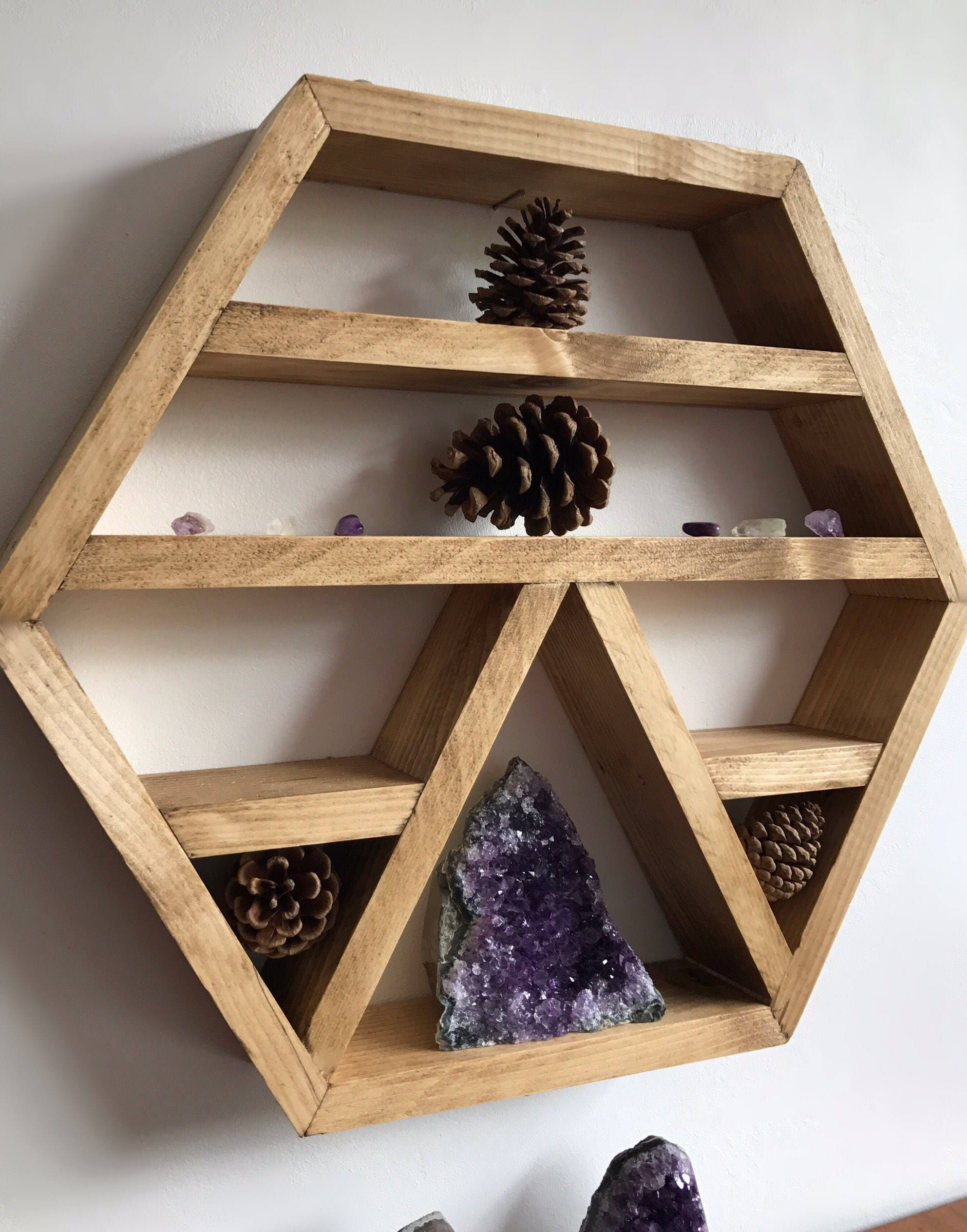 Crystal Display Shelf Hexagon Shelf Wall Shelf For Crystals