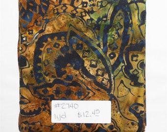 Fabric -  1yd piece-Sumatra Wood Batik/Blank Quilting BTR6145/Brown Tan Navy Blue Green print #2740