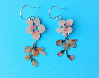 Apricot blossom vintage tin earrings