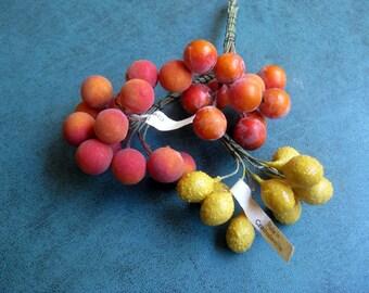 Vintage Antique 3 Bunches Fruit Stamens Oranges Lemons Made in Czechkoslovakia Hats Dolls