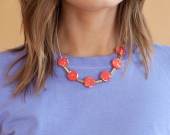 Red Disc Necklace