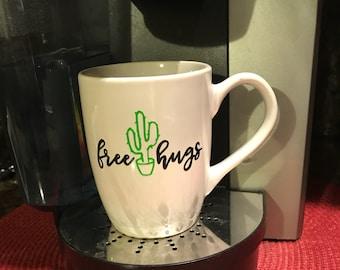 Free hugs coffee cup