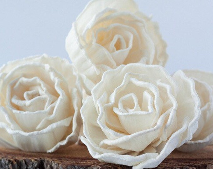 Cabbage Rose Sola Flowers - Set of 5 , Sola Flowers, Wood Sola Flowers, Balsa Wood Flowers, Craft Flowers, sola wood flowers