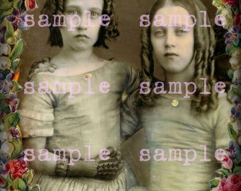Victorian Sisters Little Girls instant Digital Download Vintage Beautiful Girls Angels Sisters Gothic Witch  Bohemian Boho Art Printable