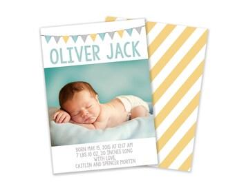 Baby Boy Modern Birth Announcement Card Digital Printable Card