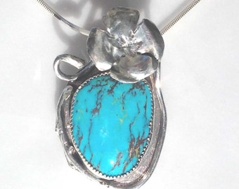Natural Turquoise Pendant, California Poppy Flower, Mothers Day, Crow Springs, Bluebird Mine Hand Forged, Flower, American Turquoise