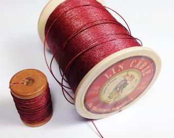 Bobinette 5 meters of AU Chinois linen thread, color brick / Burgundy