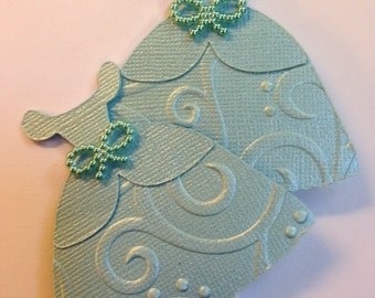12 Cinderella Dress Inspired Cupcake Toppers - (Embossed with Shimmery Cardstock)