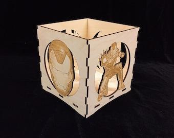 Ironman Candle Holder-Unfinished Wooden Candle Lantern-engravable candle box-Superhero gift-Ironman wooden candle lantern