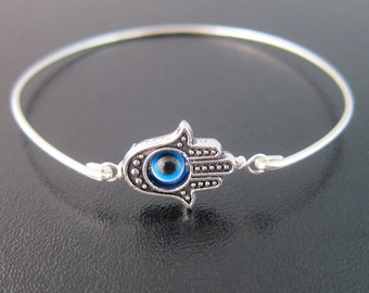 Evil Eye Bracelet, Silver Tone Hamsa Bracelet, Evil Eye Jewelry, Turkish Jewelry, Turkish Bracelet, Third Eye Jewelry, Evil Eye Bangle