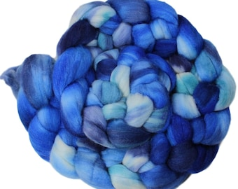 Raincloud - hand-dyed merino wool and silk (4 oz.) painted combed top