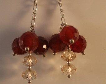 Gemstone Cluster Earrings - silver earrings, gemstone earrings, cluster earrings, dangle earrings, drop earrings, carnelian, citrine,earring