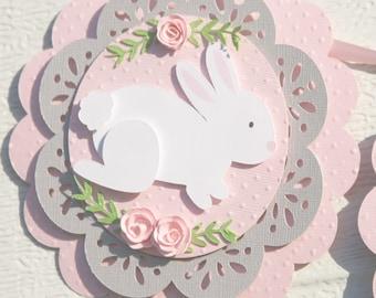 bunny birthday party, bunny banner, bunny birthday decor, bunny baby shower, baby shower decor, first birthday decor, bunny nursery decor